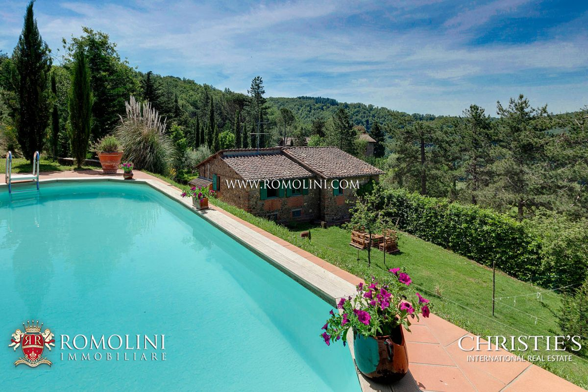 GREVE IN CHIANTI: COUNTRYSIDE VILLAS WITH POOL FOR SALE, FLORENCE, TUSCANY, CHIANTI, GARDEN, POOL, PANORAMIC VIEW