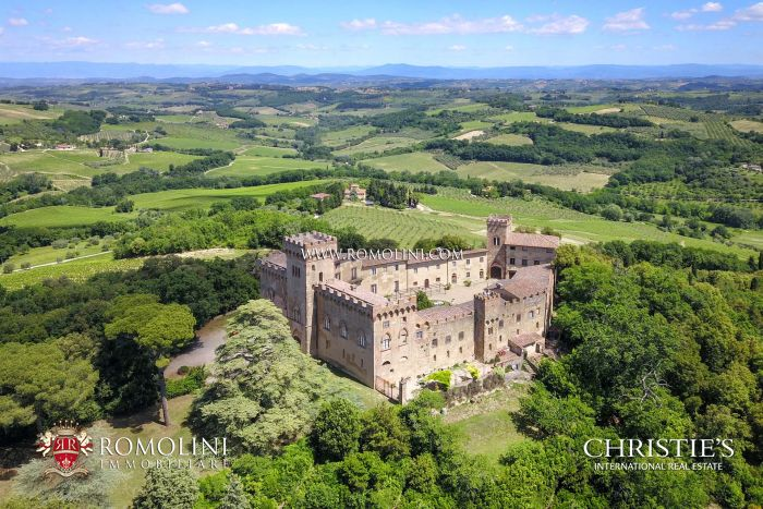 TUSCAN CASTLE FOR SALE IN CHIANTI, VINEYARDS near Florence and Siena