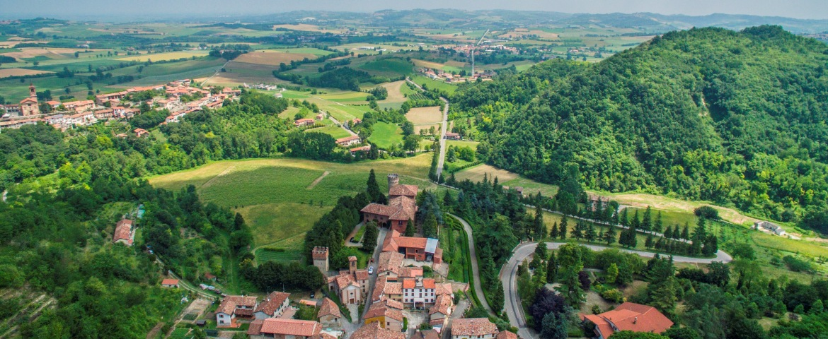 Aerial view over the hills of Monferrato
